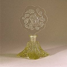 Vintage 1930s Czech Perfume Bottle in Yellow Crystal with clear intaglio stopper