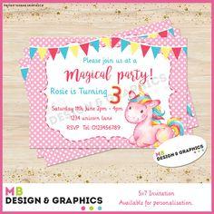 MB Design and graphics: Magical unicorm A5 printable invitation