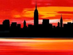 Skyline oil painting prints on canvas | ... art online gallery, original modern wall art and abstract art
