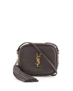 New Saint Laurent YSL Monogram Blogger Tassel Crossbody Charcoal Black Grey   995. Leather Shoulder BagShoulder ... 7da3fe0e6b2d1