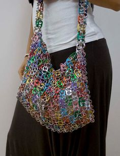 Pop Tab Top Colored Shoulder Bag by CariokaGirl on Etsy