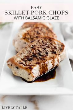 These easy, 15 minute skillet pork chops with balsamic glaze are a simple and delicious weeknight main dish with only 4 ingredients. (#glutenfree, #dairyfree) #porkchops #skilletporkchops #weeknightdinners #weeknightmeals #15minutemeals #glutenfreedinner #easyrecipes #easydinnerrecipes #castironcooking #dairyfreedinners #easyhealthymeals #easyhealthydinners Skillet Pork Chops, Seared Pork Chops, Healthy Gluten Free Recipes, Whole Food Recipes, 15 Minute Meals, Good Food, Yummy Food, Balsamic Glaze, Gluten Free Dinner