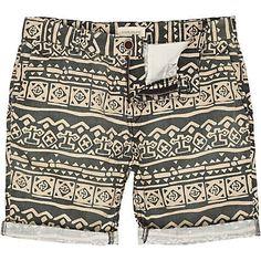 Black tribal print shorts by River Island.