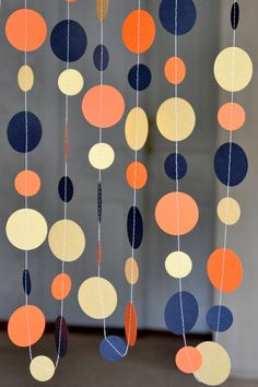 Black Orange circle garland, Halloween garland, Holidays garland, Halloween firaplace decorations