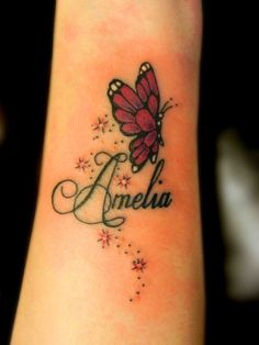 For baby Amelia butterfly and script tattoo