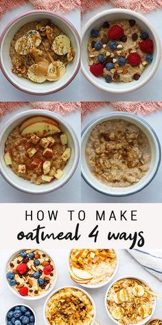 Healthy Oatmeal Recipes, Good Healthy Recipes, Healthy Breakfast Recipes, Sweet Recipes, Healthy Snacks, Vegan Oatmeal, Healthy Sweets, Amazing Food Videos, Basic Recipe
