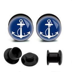 Anchor   Acrylic Piercing Ear Plug, UV  tunnel  ear  plugs,high quality ear plugs,guage earrings,fake gauge plugs,custom plugs on Etsy, $11.99