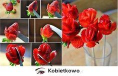 Jak zrobić piękny kwiat z truskawki? KROK PO KROKU!