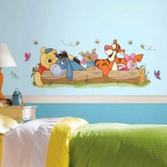 These Pooh and Friends Outdoor Fun Peel and Stick Wall Decals feature lovable Winnie the Pooh as well as your other favorite characters from the Hundred Acre Wood. They will amuse and delight, and make a bedroom extra special. Disney Themed Bedrooms, Disney Rooms, Disney Nursery, Winnie The Pooh Nursery, Disney Winnie The Pooh, Baby Disney, Disney Cars, Nursery Themes, Room Themes