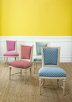 "Manuel Canovas ""Madera"" in rose indien, cerise, turquoise and mer Decor, Furniture, Interior, Interior Inspiration, Beautiful Furniture, Home Decor, Furniture Dining Chairs, Upholstery, Cozy Furniture"