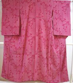 Kimono Dress Japan Geisha costume used Vintage Komon 1610V3S18