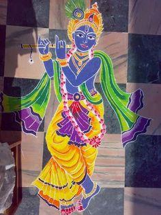 Beautiful Rangoli Designs For Krishna Janmashtami - ArtsyCraftsyDad Colorful Rangoli Designs, Art Drawings For Kids, Krishna Drawing, Krishna Janmashtami, Art Drawings Sketches Simple