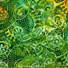 Sumatra Batiks ll - Abstract Paisley Green Yardage