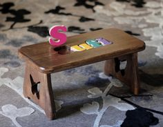 Personalized Puzzle Stool  Pick your FINISH & DESIGN by CraftCarve