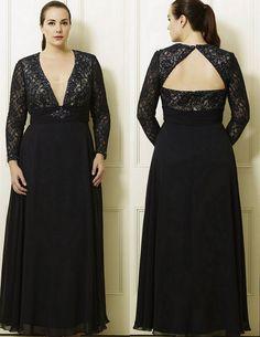 Carolina's Navy Nude Plus Size Long Dress by Viviana