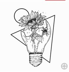 coloring drawing aesthetic easy space drawings flower outer sunflower unique draw flowers bulb inside simple rose lightbulb sketch broken tattoo
