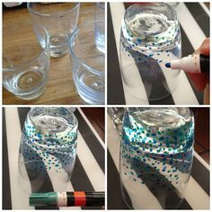 anthropologie inspired confetti glasses, crafts, repurposing upcycling Genius! Upcycle old  glasses!