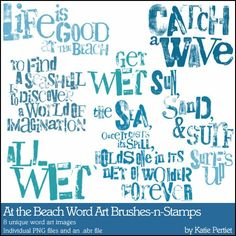 At the Beach Word Art Brushes and Stamps- Katie Pertiet Brushes- DS572033- DesignerDigitals