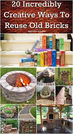 20 Incredibly Creative Ways To Reuse Old Bricks {With tutorial links} Whether you've got a handful of bricks or an entire house worth, there is a great DIY project just waiting to put them to use. I've found a great collection of 20 incredible DIY projects that use bricks, and in some cases, nothing else. There is everything in here from do it yourself walkways to candles, and so much more. http://www.diyncrafts.com/19862/repurpose/20-incredibly-creative-ways-reuse-old-bricks