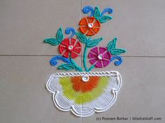 Easy and small flower pot rangoli using quilling comb | Creative rangoli designs by Poonam Borkar - YouTube