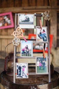Vintage ladder photo display...THIS IS MY FAVORITE :)