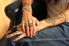 Tasya van Ree - love these rings and her tattoos