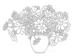 Flower Coloring Pages Vase Bouquet of Summer Garden Flowers Printable Flower Pictures, Printable Flower Coloring Pages, Coloring Pages For Kids, Coloring Books, Beautiful Flowers Garden, Simple Flowers, Amazing Flowers, Floral Font, Flower Outline