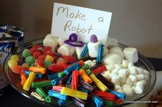 "a Candy Robot, TobotMake a Candy Robot, Tobot the Sweetest Memory: Guest Post - Robot Party Robot favors -- Nuts & Bolts about you robots - birthday activity idea! Great for interactive themes. Photo 1 of Robots & Rockets / Birthday ""JD's Birthday"" Transformers Birthday Parties, 4th Birthday Parties, Boy Birthday, Birthday Ideas, Birthday Wishes, Maker Fun Factory Vbs, Robot Theme, Transformer Birthday, Girly"