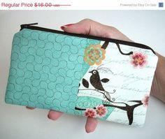 MOVING SALE Large Coin purse zipper pouch Eco Friendly Double Blush Bird Aqua by JPATPURSES, $12.00