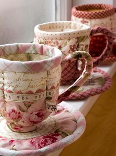 Patchwork Pottery patterns for darling quilted teapots & teacups  http://www.patchworkpottery.bigcartel.com/