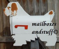 Clumber Spaniel mailbox, Dog mailbox shaped like a CLumber Spaniel Wood Projects, Projects To Try, Clumber Spaniel, Mailbox, Boxes, Decor, Animales, Dekoration, Decoration