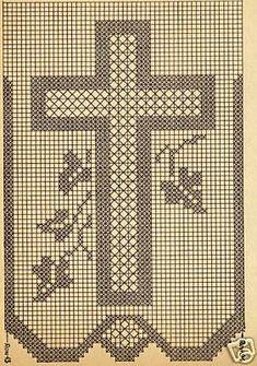 Crochet Patterns Filet, Christmas Crochet Patterns, Crochet Diagram, Filet Crochet, Cross Stitch Tree, Cross Stitch Bookmarks, Crochet Cross, Crochet Home, Cross Stitch Designs