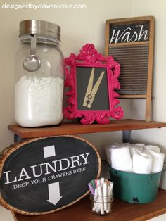Laundry Room Makeover - Colorful Frame with Clothespin Picture, Washboard with chalkboard paint