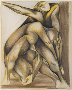 """Untitled (Figure Composition) - c1938-1941 - Colored Pencils and graphite on paper - 14 1/8"""" X 11 1/8"""" - Metropolitan Museum of Art New York - Copyright P-KF/ARS"""