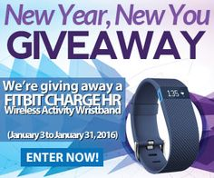 Sweepstakes Lovers New Year, New You #Giveaway: Find out how you could win a free Fitbit Charge HR Wireless Activity Wristband. Enter from January 3 to January 31, 2016.