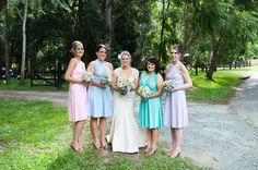 Pastel bridal party - vintage look   Wedding Flowers by Julia rose  www.weddingflowersbyjuliarose.com  Mount Pleasant wedding photography | Henzell's Chapel | Brisbane wedding photographer