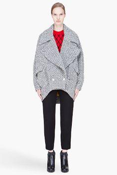 KENZO grey oversize knit Wool Coat
