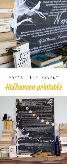 """Free Halloween printable wall art: """"The Raven"""" by Edgar Allen Poe. Tutorial for printing and mounting for about $10."""
