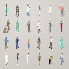People at Work - Flat Icons Illustration vector art illustration