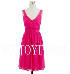 Sheath/Column V-neck Chiffon knee-Length Bridesmaid/Evening/Prom Dress$79.00