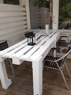 Pallet porch table #Pallet, #Table, #Terrace..would revamp this a bit and make it a solid top table but good idea to start with