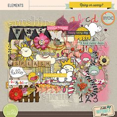 Rainy or Sunny? {elements} April 2014 BYOC by Little Butterfly Wings. #CTproduct #digiscrap