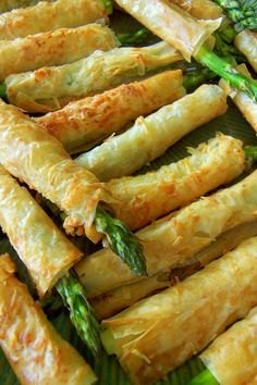 Phyllo wrapped asparagus appetizers.