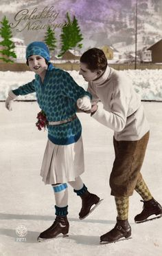 Ice skating couple beautiful old flapper postcard 1937