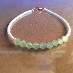 White Seed Beaded Bracelet with Mint Green Glass Beads by CVioletJewelry $15 **** beautiful . . .*** My tranquility color is Orinoco Green ***