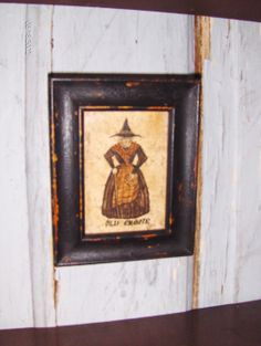"""Early style watercolor of an """"Old Crone"""" by Steve Shelton in a painted and distressed frame.  Whitehorse Antiques, Rocheport, Mo."""