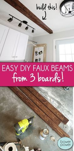 Easy DIY Faux Beams from 3 boards! - Bower Power