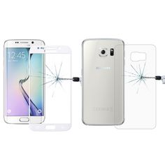 [$6.16] 0.2mm 9H Surface Hardness 3D Curved Surface Full Screen Cover Explosion-proof Tempered Glass Front Film + 2.5D Back Film for Samsung Galaxy S6 Edge+ / G928(White)