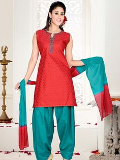 Voguish red color resham thread work cotton kameez comes with teal color salwar. Item Code: SLTY48559 http://www.bharatplaza.com/new-arrivals/salwar-kameez.html