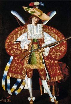 Ángeles peruanos barrocos que manejan el rifle del siglo XVII
